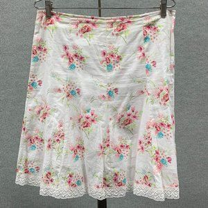 100% Cotton Floral Skirt with Lace Detail Sz. Lg.